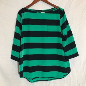 Preppy green and navy wide stripe silk top.